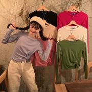 秋 新しいデザイン 韓国風 不規則な 何でも似合う 短いスタイル 長袖Tシャツ 女 ルー