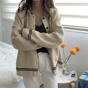 秋 新しいデザイン 韓国風 ルース ストライプス ヒットカラー ラペル 長袖のセーター