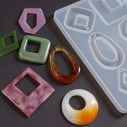 シリコン型 モールド 6種類のオシャレな大き目フープ図形チャームが作れる