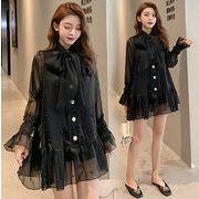 【大きいサイズXL-5XL】ファッション/2枚セットワンピース♪ホワイト/ブラック/グレー3色展開◆