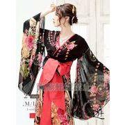 【流遊】シフォン和華柄振り袖和柄ドレス