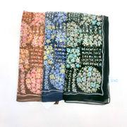 【スカーフ】【日本製】シルクシフォングランマ柄日本製小判スカーフ