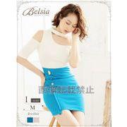 【Belsia】チョーカー風ワンショルワンピース 袖付きストレッチキャバクラドレス*503858