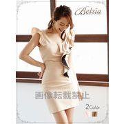 【Belsia】上質フリルlineキャバドレス フリル袖タイトミニドレス キャバクラ