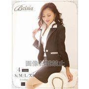 【Belsia】大きいサイズ完備!!襟付きノースリーブシャツ付キャバスーツ ストライプ柄