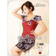 【Belsia】ぼかしRose柄ストレッチミニドレス 袖付きキャバクラドレス