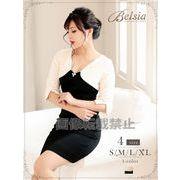 【Belsia】大きいサイズ完備!!ボレロ風ツイード切替えミニドレス 七分袖キャバクラドレス