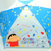 【雨傘】【ジュニア用】【折りたたみ傘】クレヨンしんちゃんホップ柄曲がり手付き折傘