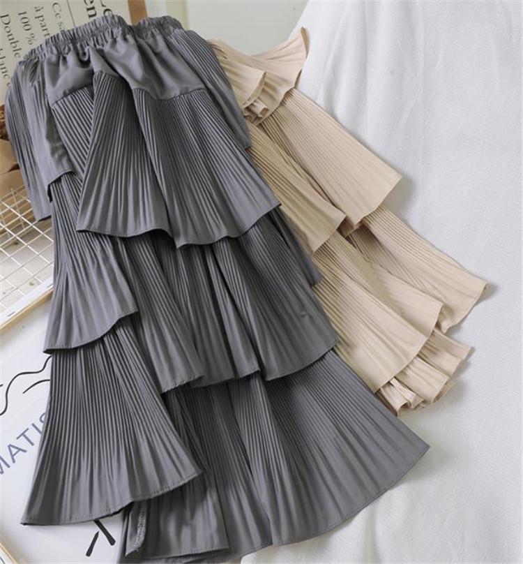 週末に着たい服 自社生産 トレンド 大人気 新品 シフォン ハイウエスト スリム プリーツスカート