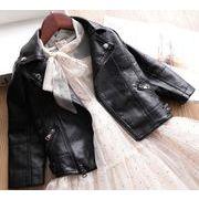 秋冬新作 キッズ ジャケット 普段着 長袖 子供コート 日常用 PU 人造皮革 男の子 女の子