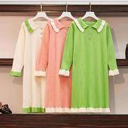 【大きいサイズL-4XL】ファッションワンピース♪ブラック/グリーン/ピンク3色展開◆