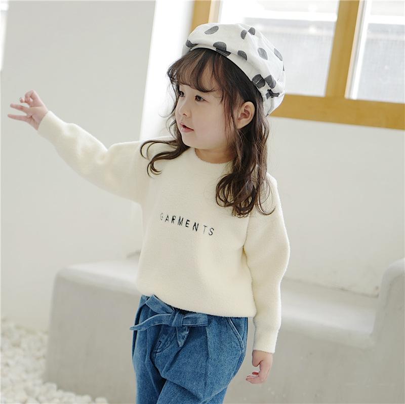 女の子 刺繍 長袖セーター ふわふわニットトップス キッズ 子供服