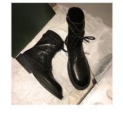 韓国ファッション ショートブーツパー スエード調 太ヒール ショートブーツ靴カジュアルシューズ