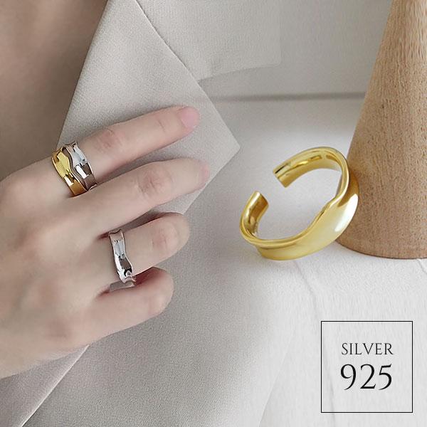 【即納】【リング】全2色!シルバー925 変形ワイド オープンリング指輪 [kgf0578]