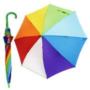 雨の日が楽しく♪元気になる傘 【レインボー グリーン】 子ども傘 50cm