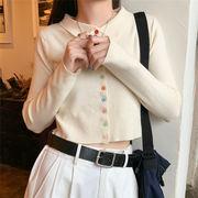 韓国風 小 ファッション シンプル 何でも似合う 着やせ 長袖 カーディガン 短いスタイ