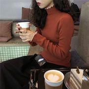 レース セミハイ襟 セーターの女性 着やせ ヘッジ 秋冬 新しいデザイン ボトムシャツ