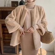 秋早割りSALE中 冬 暖かい 厚手毛皮 スリム エレガント 気質 コート ショート快適 ゆったりする トップス