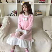 韓国風 少女 スウィート かわいい リボン 王女 ナイトドレス 手厚い フランネル パジ
