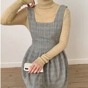 【NEW】チェックワンピース★韓国ファッション★秋服★ロングワンピース★体系カバー★レトロ