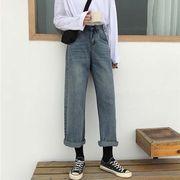 女性のジーンズ 春秋 新しいデザイン 韓国風 アンティーク調 ルース 着やせ ワイドパン