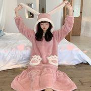 パジャマ 女 秋 新しいデザイン コンフォート スウィート かわいい ウサギ 耳 帽子付