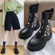 女靴 秋 新しいデザイン ファッション ひもあり インナーヒール 何でも似合う マーティ