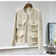 レディースアウター 長袖 ツイード アウター ビーズ スパンコール カットオフ ラメいり 気質 高品質で 秋冬