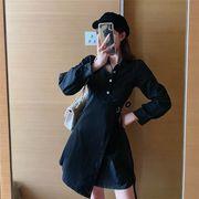 2019秋新作長袖 ラペル スリムフィット 中・長セクション ワンピース ファッション ミニスカート