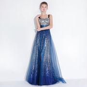 カラードレス ロングドレス ブルー色  スレータンライン  Evening dress