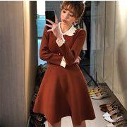 【秋冬新品】韓国ファッション/大人気/sweet系/長袖/エレガント/ニットワンピース