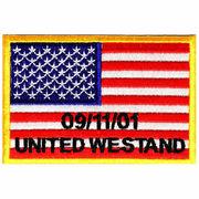 ワッペン 星条旗 WE STAND 四角 熱圧着式