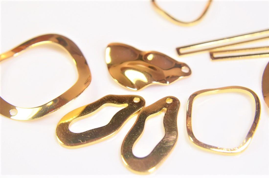【銅製高品質】アソートペアセット 幾何チャーム 基礎金具 デコパーツ ウェーブメタルパーツ