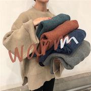 秋冬 韓国 シンプル ルーズ スプリット ニットトップス 怠惰な風  セーター ラウンドネック コート