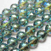 連 グリーンオーラ ダイヤモンドカット 10mm 天然石 パワーストーン ハンドメイド パーツ