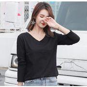 秋新作 トップス 長袖 スウェット レディースファッション 韓国  Vネック