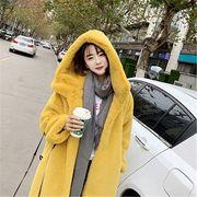 韓国ファッション ロングコート ボア シンプルカラー