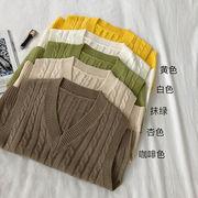 単一色 ツイスト 襟 ニットベスト 女 新しいデザイン 秋冬 韓国風 着やせ 何でも似合