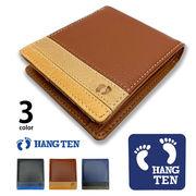 全3色 HANG TEN ハンテン リアルレザー トリコロールカラー 2つ折り 財布 ショートウォレット
