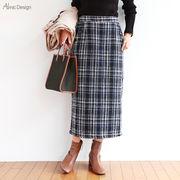 【T-1】ツイード調 チェック柄 スカート【秋冬】