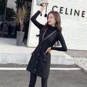 2019 秋冬 新品 韓国ファッション おしゃれな 気質 スリム レトロセーター+ワンビース 2点セット