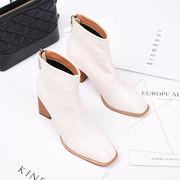 冬 新しいデザイン 韓国風 何でも似合う ハイヒール ブーツ 女 太いヒール と アンク