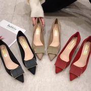 秋 新しいデザイン ヒント ハイヒール 女 スエード 浅い口 靴 韓国風 気質 女靴 ス