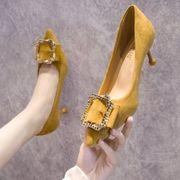 ブラック ハイヒール 女 細いヒール ヒント 靴 秋バージョン 新しいデザイン 秋 靴