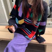 初回送料無料 2019 ゆったり 配色 長袖 ニット セーター 大人気 cjtty-1911aj114秋夏 新作