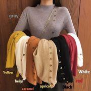 秋冬 新しいデザイン 韓国風 西洋風 何でも似合う セミハイ襟 着やせ 着やせ 長袖ニッ