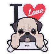 【ステッカー】パグ 防水ステッカー I LOVE DOG