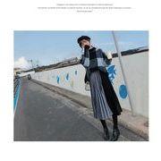 ベロアプリーツスカート配色プリーツ ウエストゴム ロングスカートファッション レディースブルー