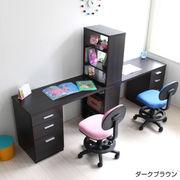 【7/中】学習机 ツインデスク 書棚付きラック 3段チェスト ブラウン 入学式 JSD-485-DBR-2SET