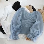 2019 秋季 新品 気質 学生 縫付 小さい新鮮な sweet系 百掛け ニットトップス トップス
